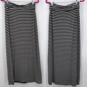 J. Crew Black White Striped Maxi Long Skirt Small